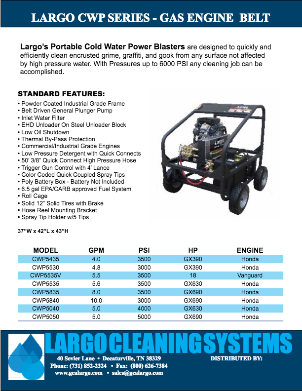 Cold Water Gas Engine Driven - Pressure Washers and Cleaning