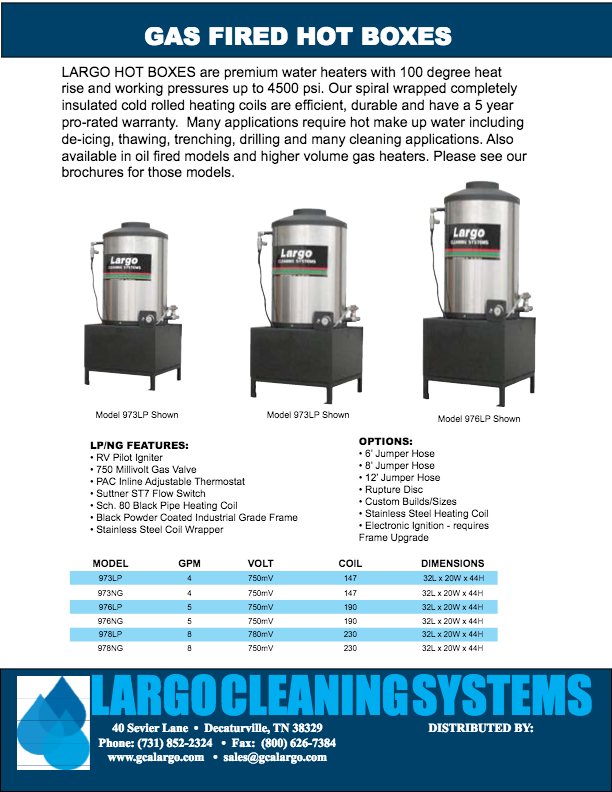 Hot Boxes - Pressure Washers and Cleaning Systems by GCA Largo